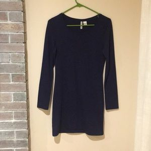 Navy blue, long sleeve t-shirt dress.